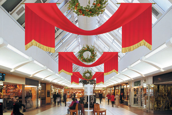 mall holiday banner swag