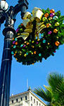 giant commercials wreaths and light pole decorations