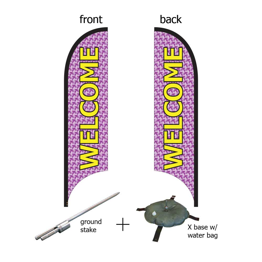 11ft. Blade Banner Kit #3 (Double Sided - Flag, Pole, Ground Stake, Cross Base with Water Tube, Carrying Case)