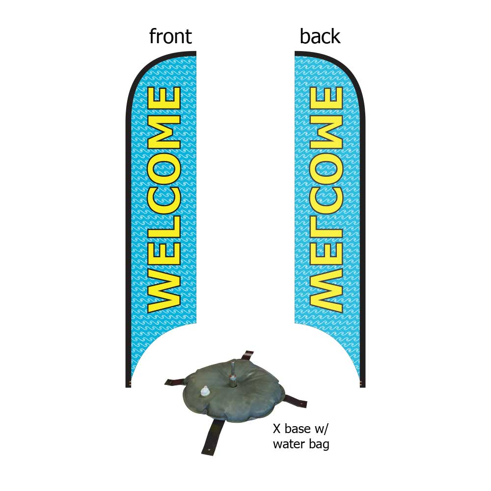 16ft. Blade Banner Kit #2 (Single Sided - Flag, Pole, Cross Base with Water Tube, Carrying Case)