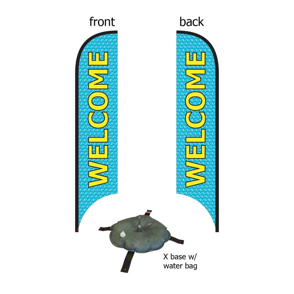 16ft. Blade Banner Kit #2 (Double Sided - Flag, Pole, Cross Base with Water Tube, Carrying Case)
