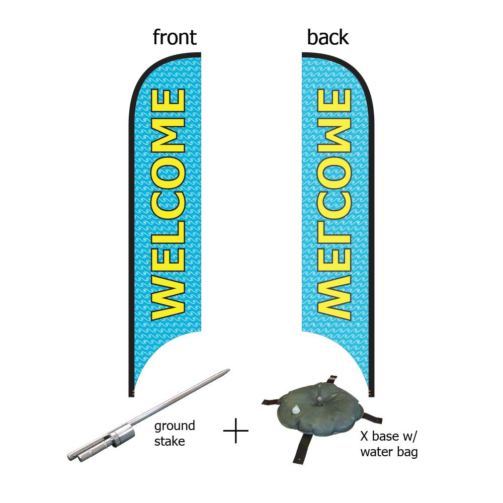 16ft. Blade Banner Kit #3 (Single Sided - Flag, Pole, Ground Stake, Cross Base with Water Tube, Carrying Case)