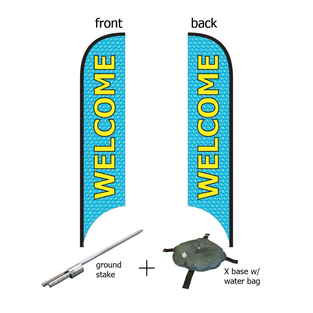 16ft. Blade Banner Kit #3 (Double Sided - Flag, Pole, Ground Stake, Cross Base with Water Tube, Carrying Case)
