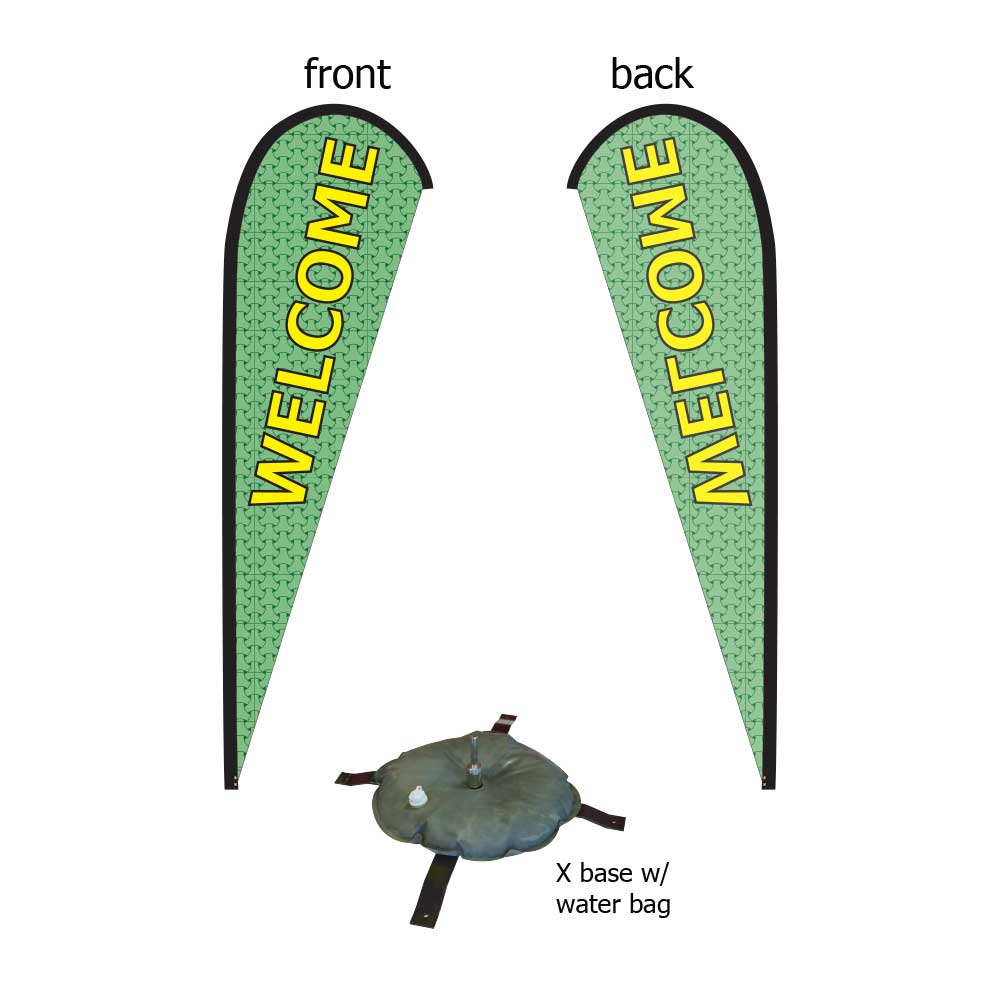 16ft. Teardrop Banner Kit #2 (Single Sided - Flag, Pole, Cross Base with Water Tube, Carrying Case)