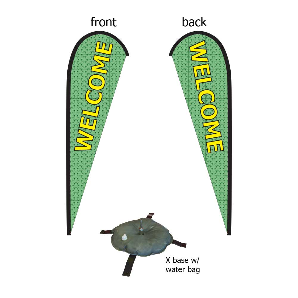 16ft. Teardrop Banner Kit #2 (Double Sided - Flag, Pole, Cross Base with Water Tube, Carrying Case)