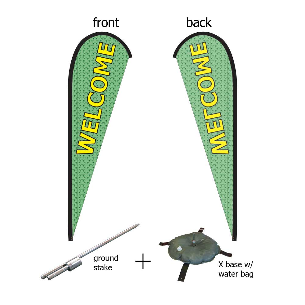 16ft. Teardrop Banner Kit #3 (Single Sided - Flag, Pole, Ground Stake, Cross Base with Water Tube, Carrying Case)