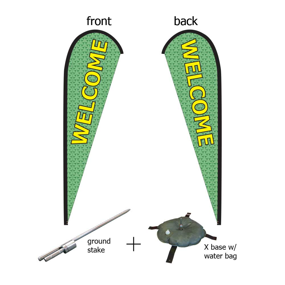 16ft. Teardrop Banner Kit #3 (Double Sided - Flag, Pole, Ground Stake, Cross Base with Water Tube, Carrying Case)