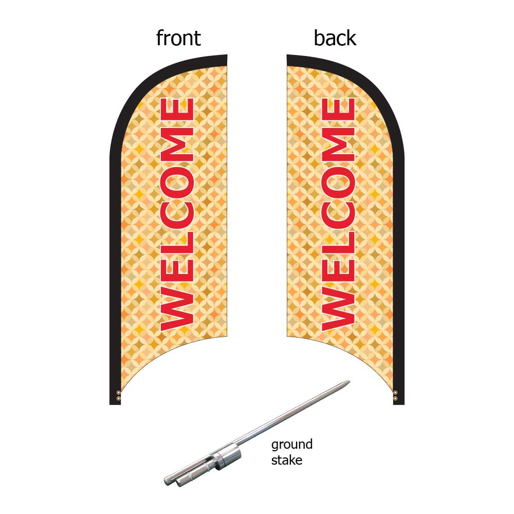 8ft. Blade Banner Kit #1 (Double Sided - Flag, Pole, Ground Stake, Carrying Case)
