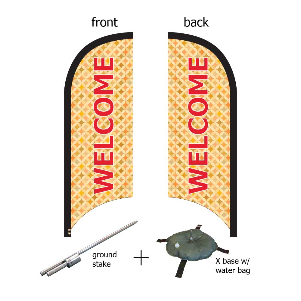 8ft. Blade Banner Kit #3 (Double Sided - Flag, Pole, Ground Stake, Cross Base with Water Tube, Carrying Case)