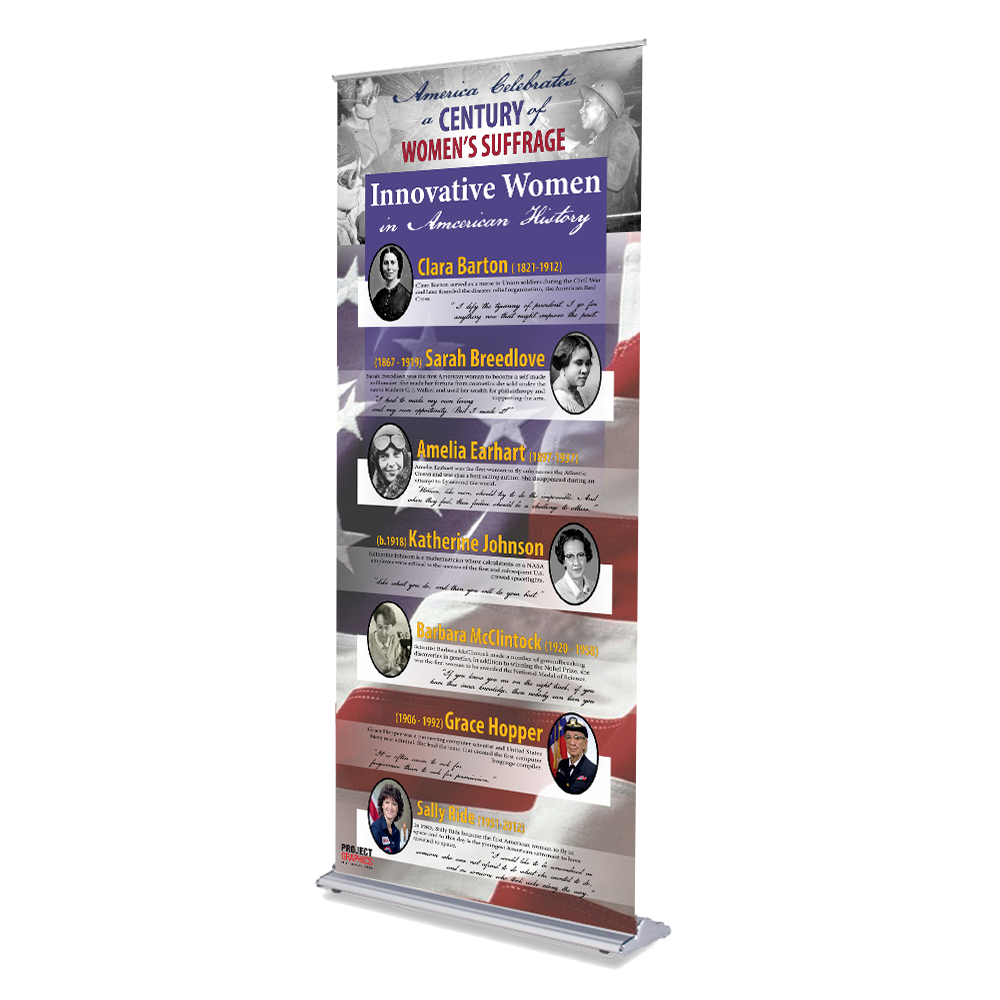 "Women in History Display - 36"" x 80"" Retractable Banner - Full 3 Panel Set"