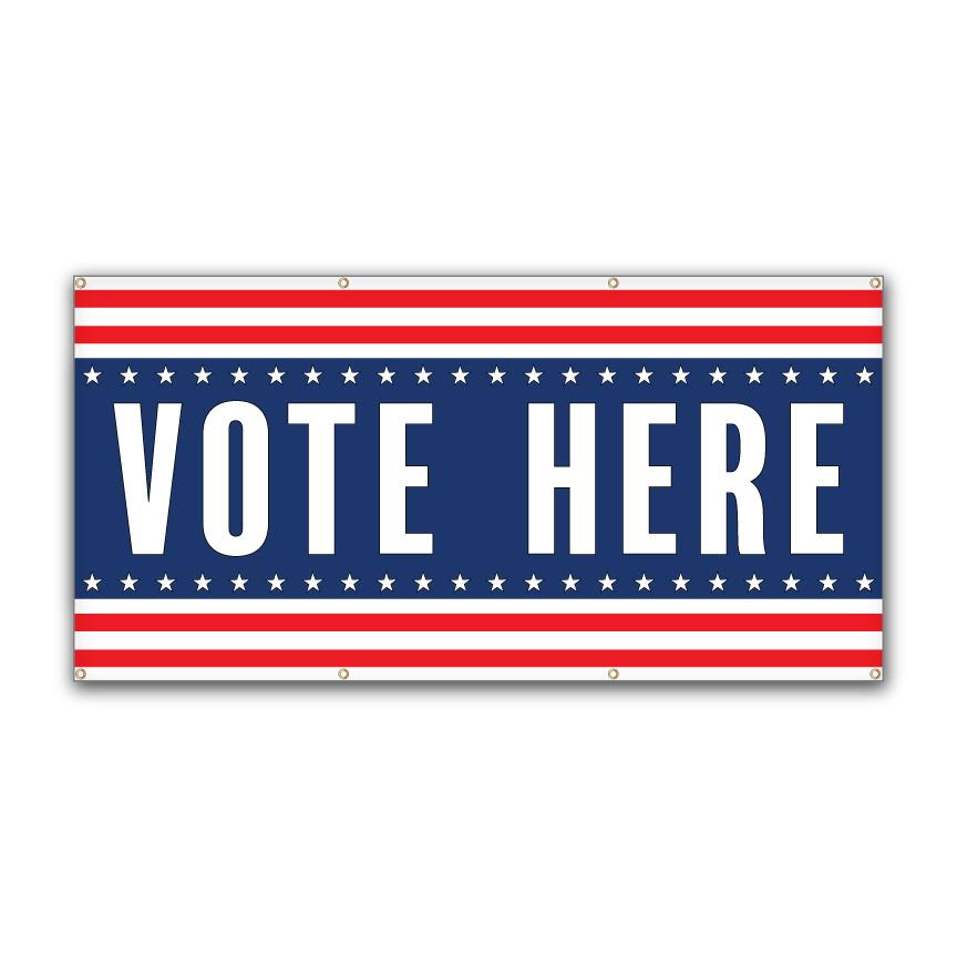 "Vote Here - 72"" x 36"" Vinyl Banner"