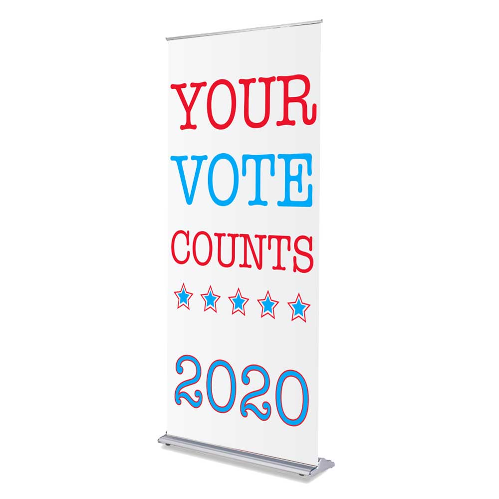 "Your Vote Counts - 36"" x 80"" Free-Standing Retractable Banner"