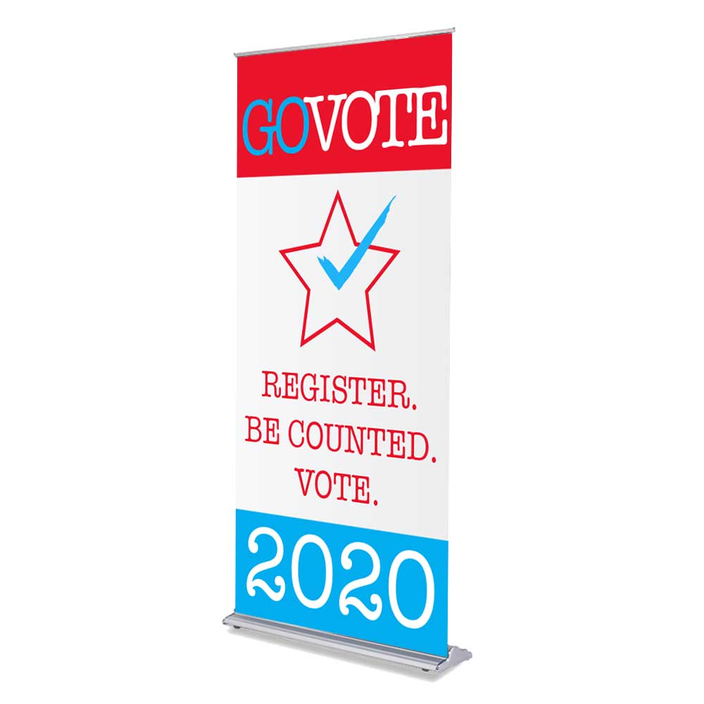 "Go Vote - 36"" x 80"" Free-Standing Retractable Banner"