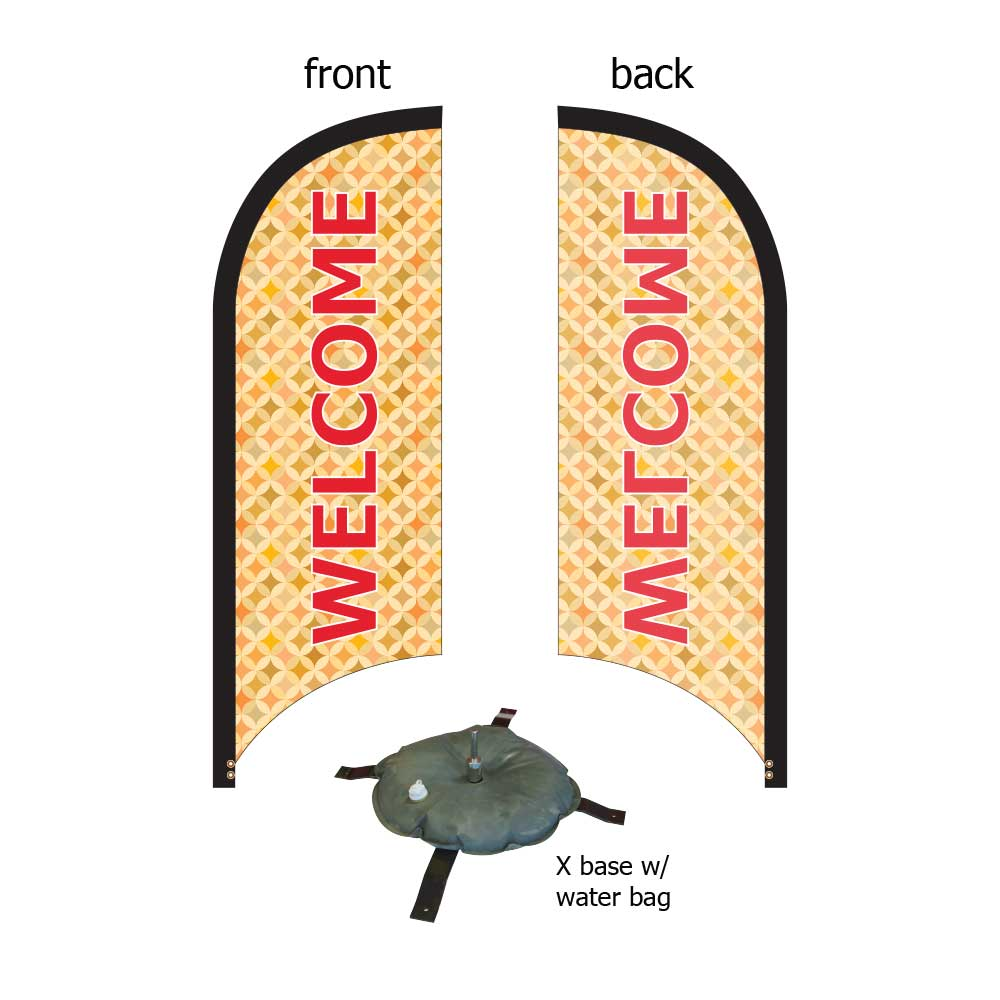 8ft. Blade Banner Kit #2 (Single Sided - Flag, Pole, Cross Base with Water Tube, Carrying Case)