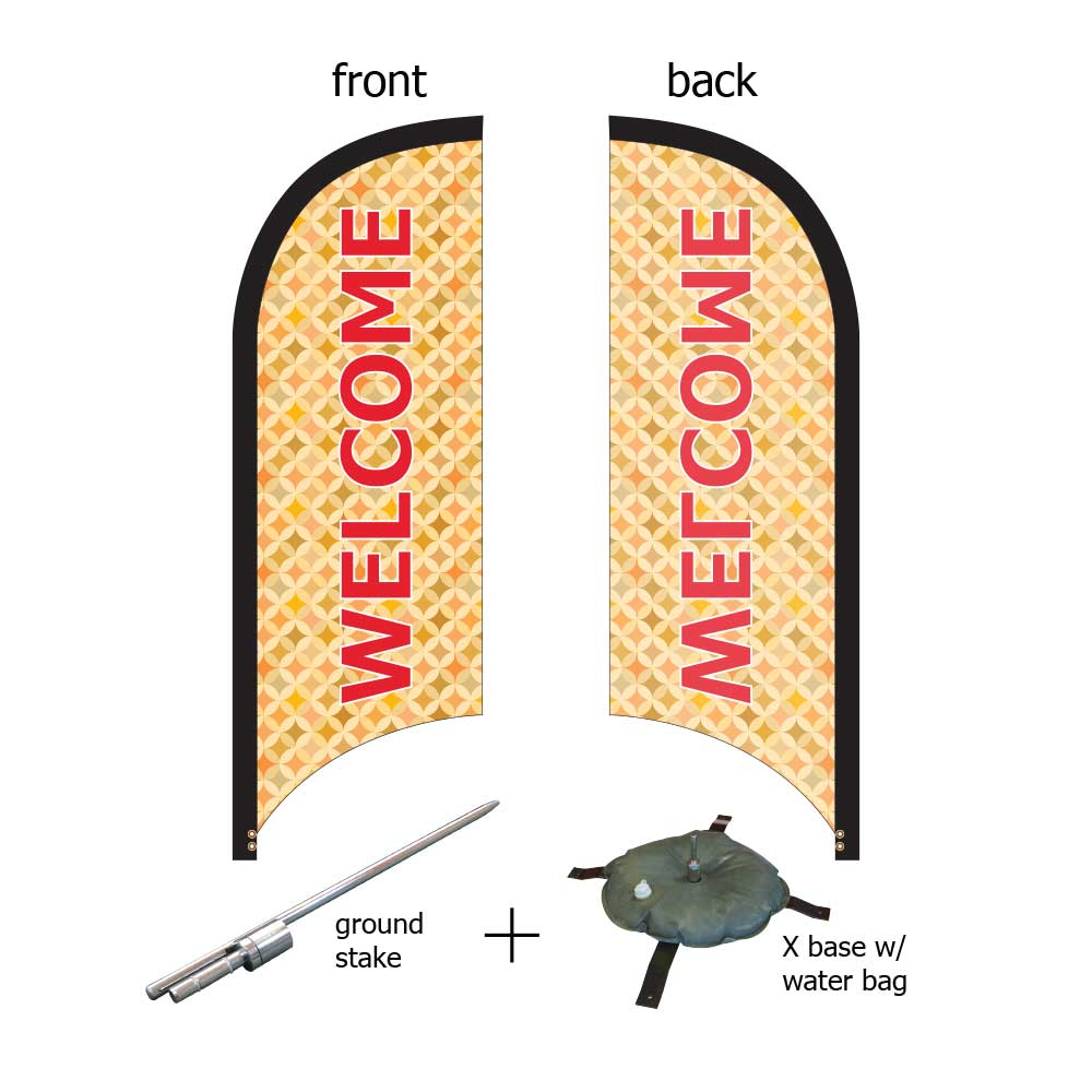 8ft. Teardrop Banner Kit #3 (Single Sided - Flag, Pole, Ground Stake, Cross Base with Water Tube, Carrying Case)