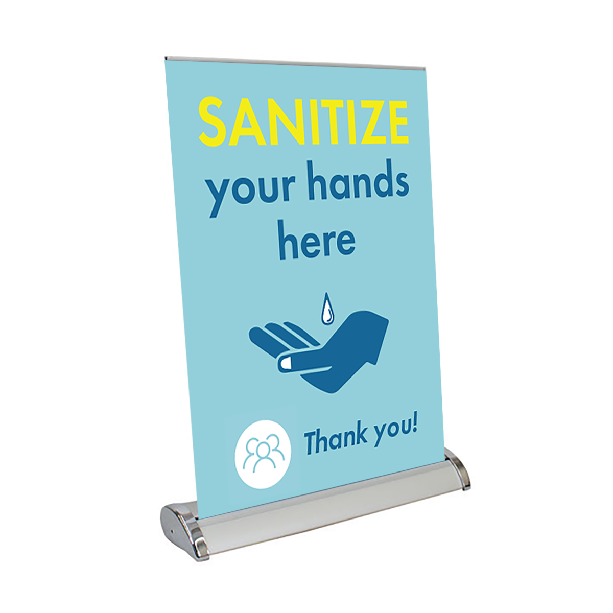 "Sanitize Your Hands Here - 13"" x 17"" Table Top Mini Retractable Banner"