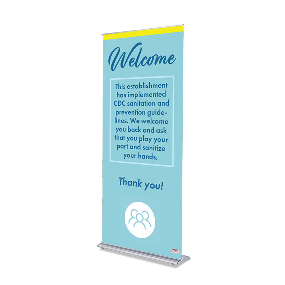 "Welcome - 36"" x 80"" Free-Standing Retractable Banner"