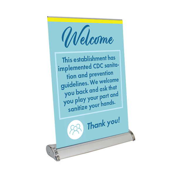 "Welcome - 13"" x 17"" Table Top Mini Retractable Banner"